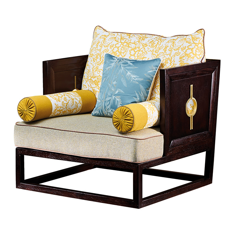 苏园-黑檀木新中式单位沙发8001