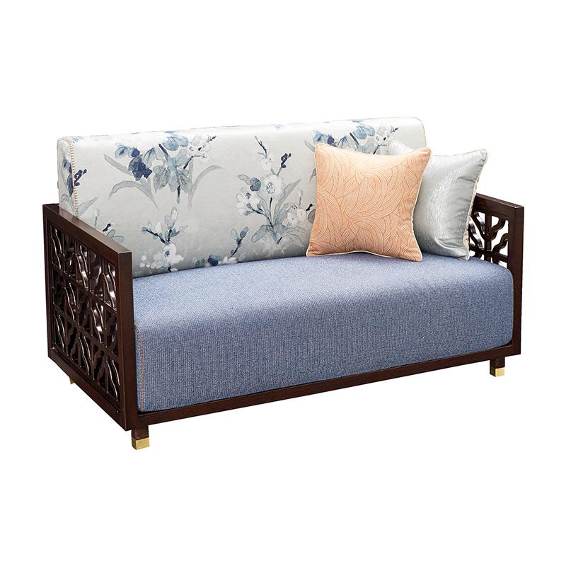 苏园-红翅木新中式双位沙发8006