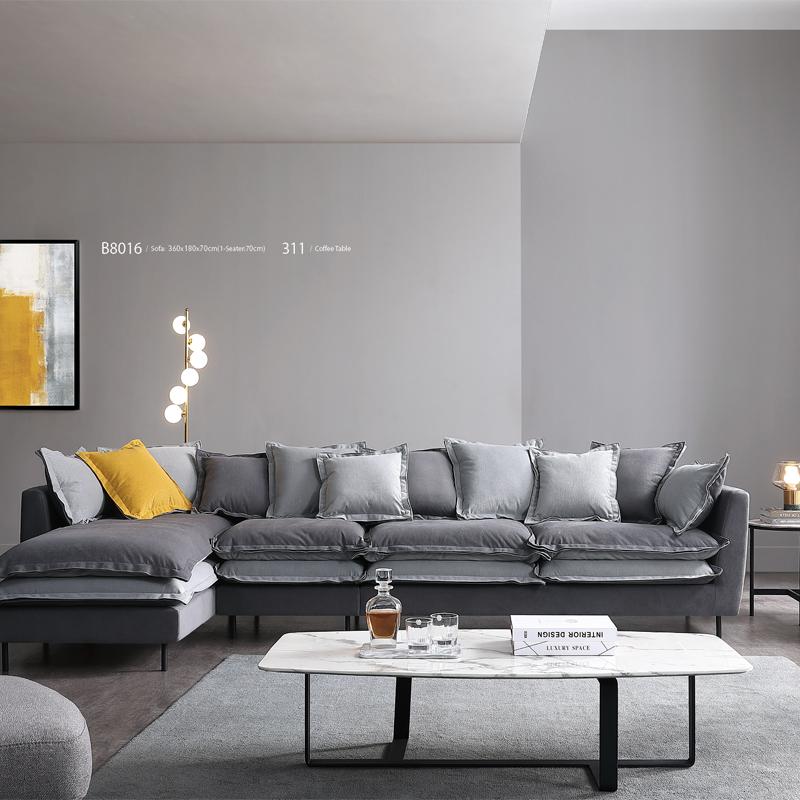 古诺现代B8016#单位,三位,贵妃沙发组合 1+3+贵