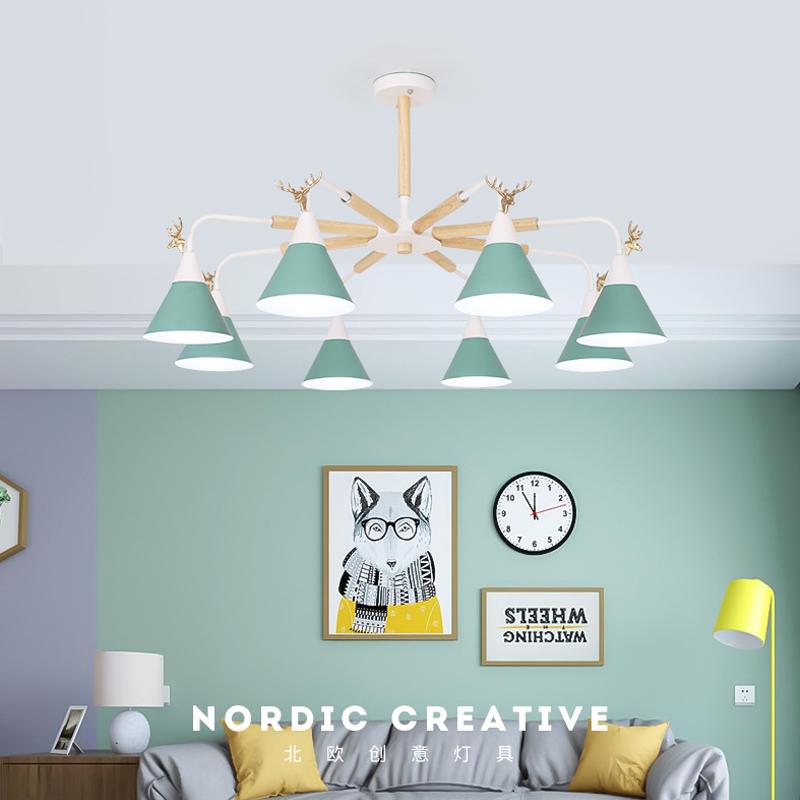 生活本北欧风A8011马卡龙灯 绿色-3头 不含光源