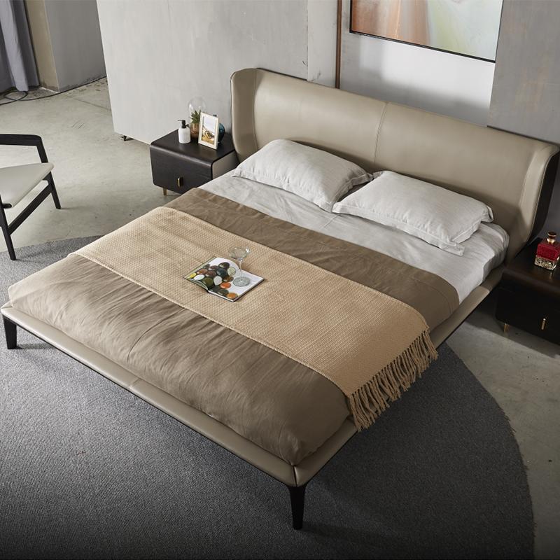 美持 床6A003 1.5米床 全真皮 烟熏