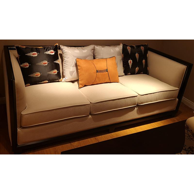 蓝晨月岛中式三位沙发YD09 真皮