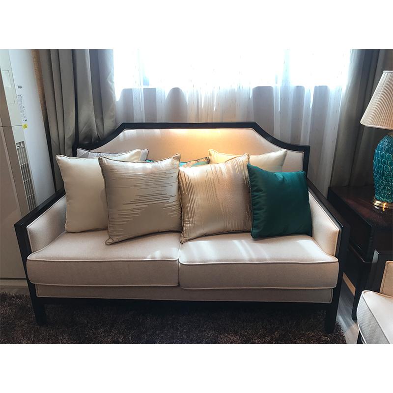 蓝晨月岛中式双位沙发YD10 真皮