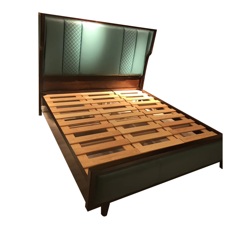 蓝晨月岛中式床YD01 真皮