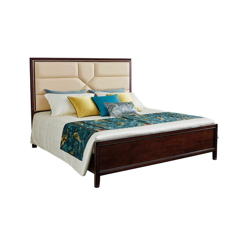 蓝晨美式轻奢床907 1.5米真皮