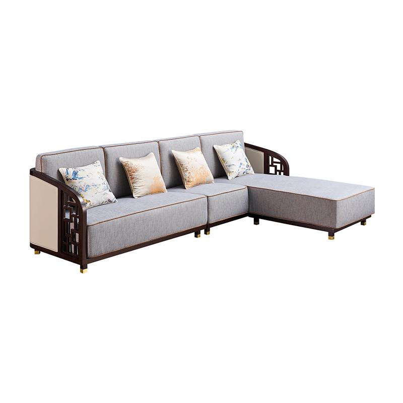 苏园-黑檀木新中式转角沙发Q8005