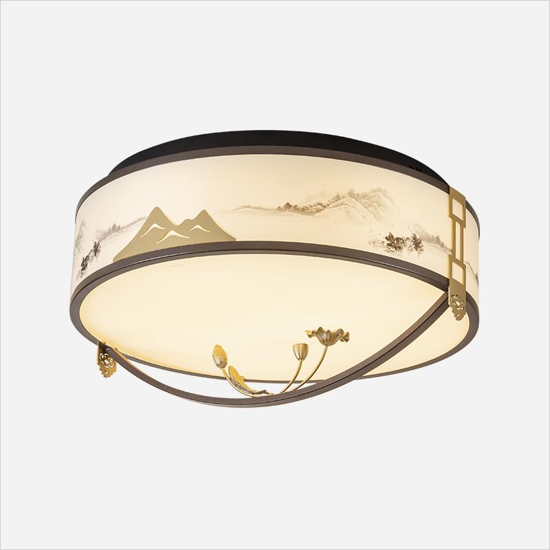 NVC雷士照明-新中式吸顶灯-戏莲系列 Ф550*290 黑色+金色