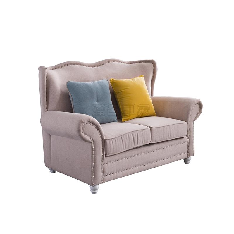 蓝晨蓝色印象简欧双人沙发K3305