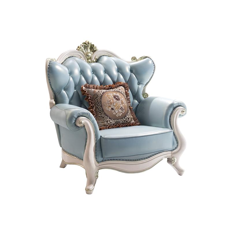 蓝晨蓝色印象简欧单人沙发K3311