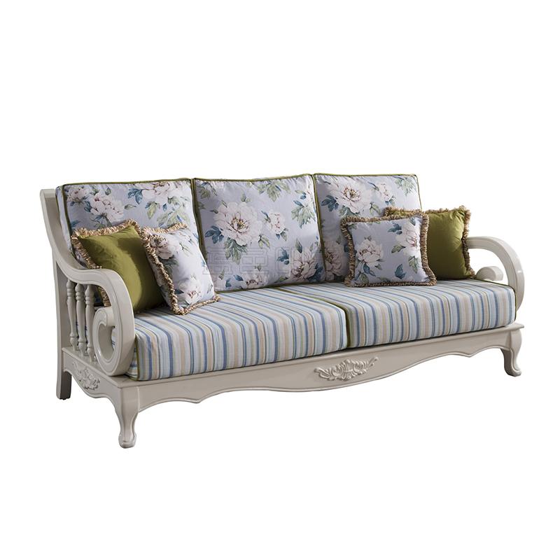 蓝晨蓝色印象简欧三人沙发K3316