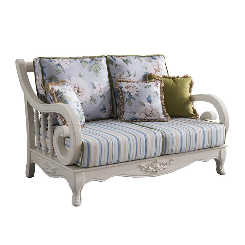 蓝晨蓝色印象简欧双人沙发K3316
