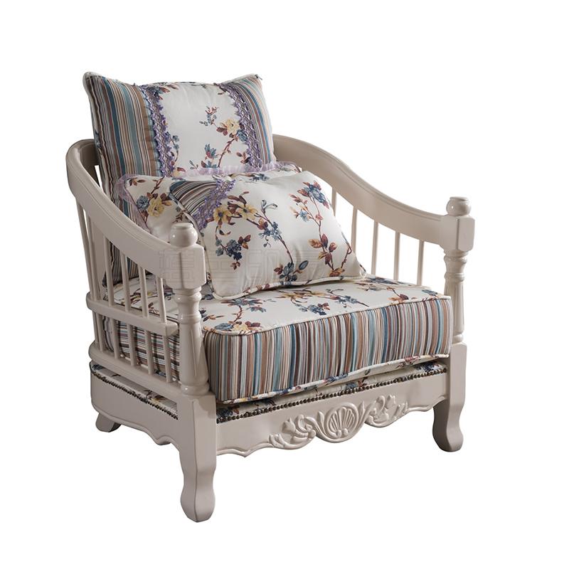 蓝晨蓝色印象简欧单人沙发K3301