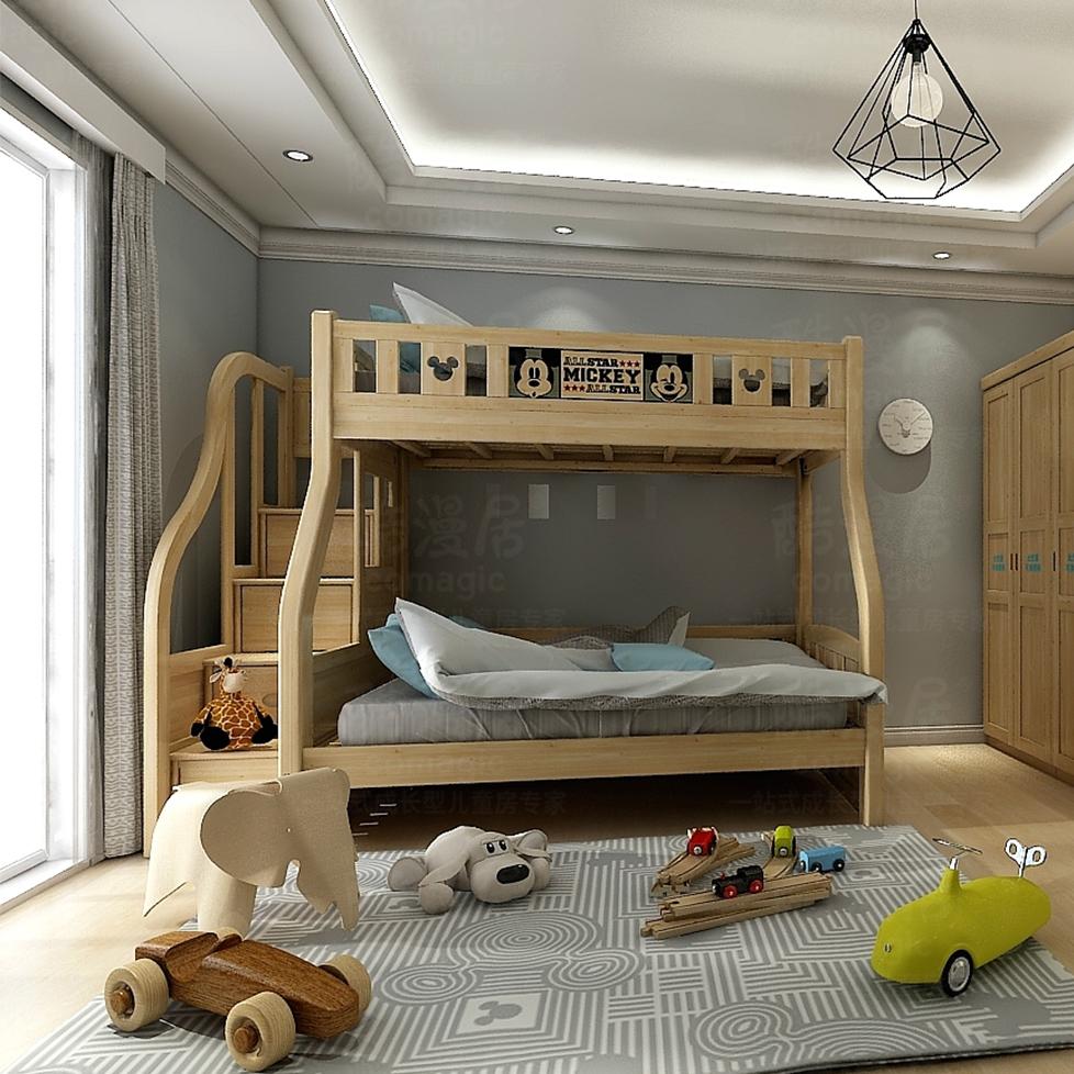 酷漫居芬兰松系列儿童床DIS-A301D(含梯柜)