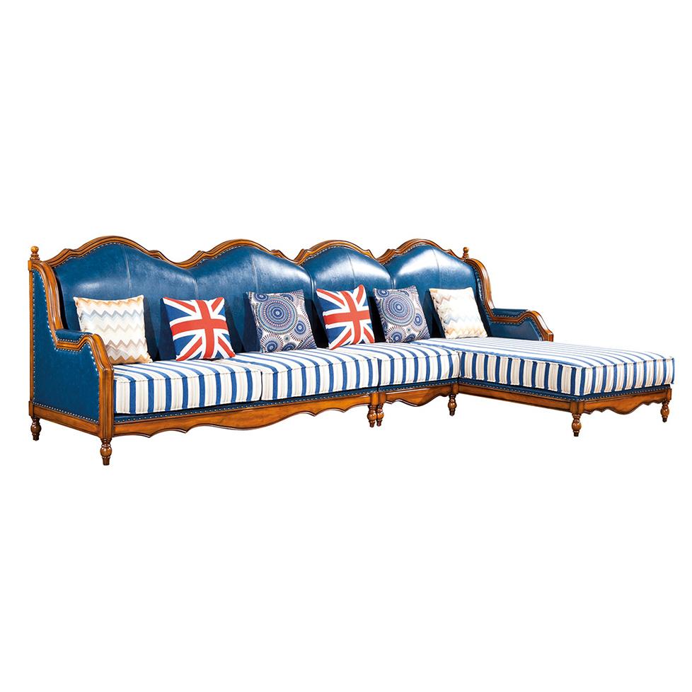 蓝晨奥美卡美式L型组合型沙发8807
