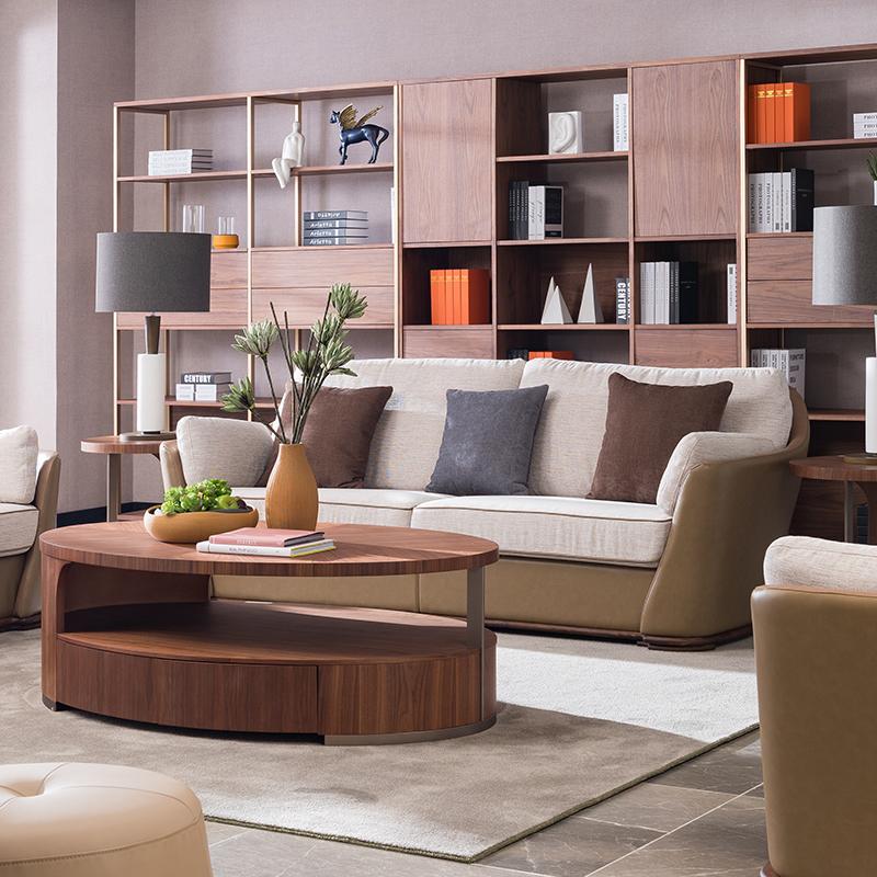 宝居乐意式实木轻奢三位沙发SP302