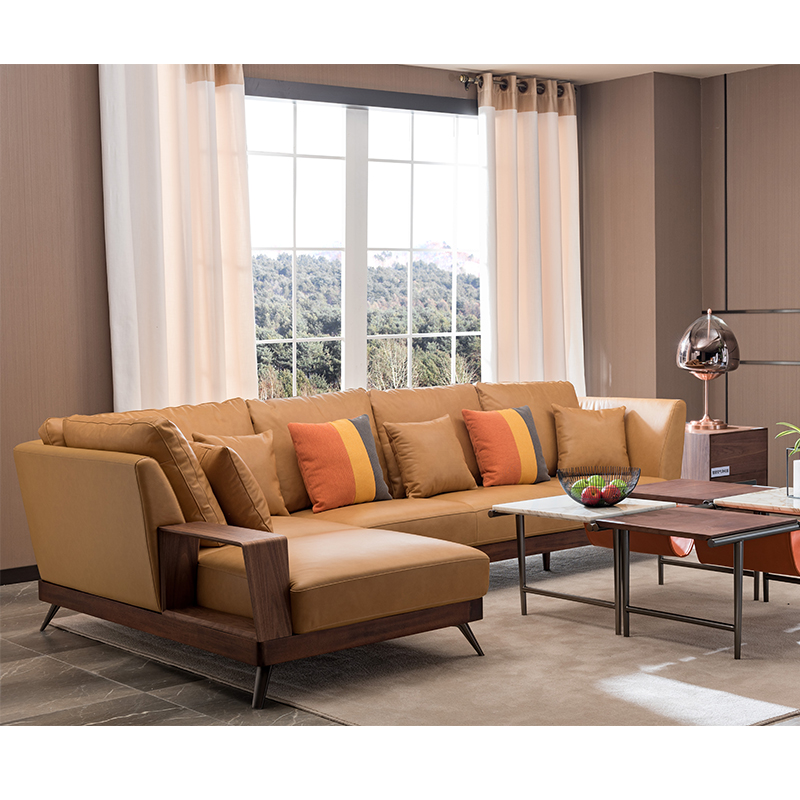 宝居乐意式实木轻奢转角沙发SP305