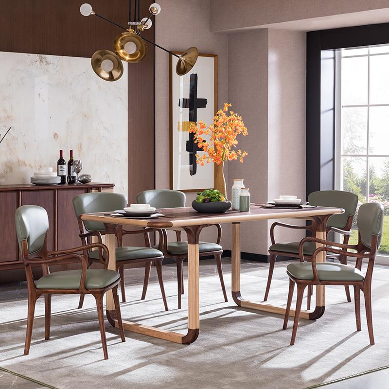 宝居乐意式实木轻奢餐椅SP306