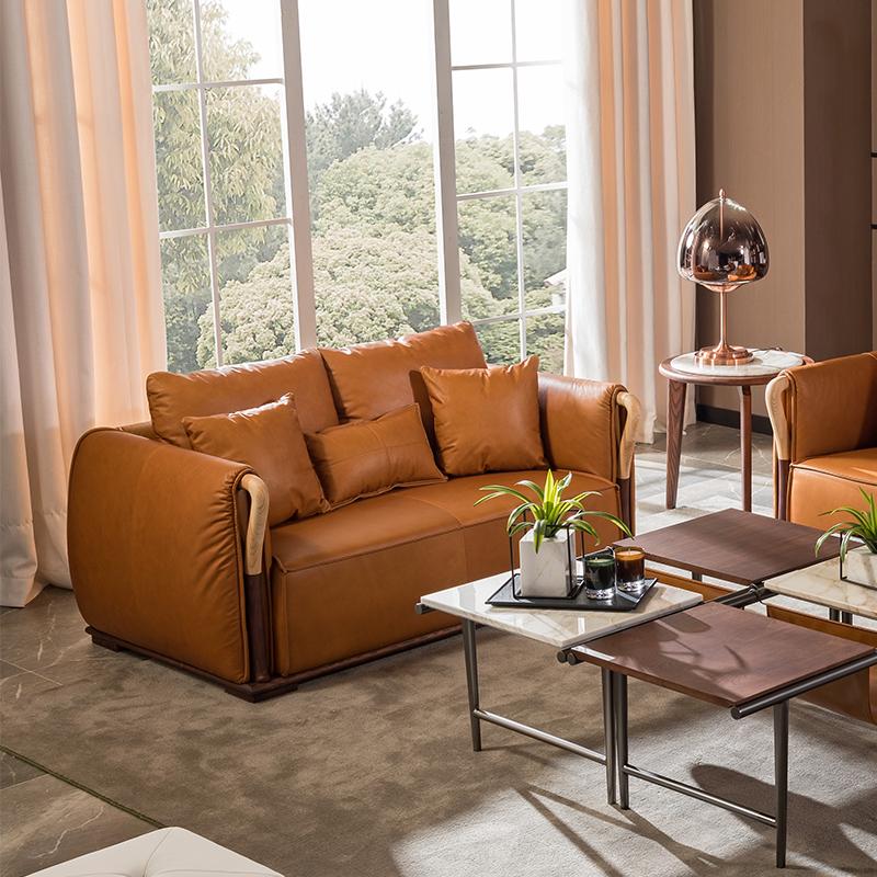 宝居乐意式实木轻奢双位沙发SP307