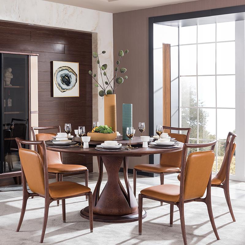 宝居乐意式实木轻奢餐椅SP307