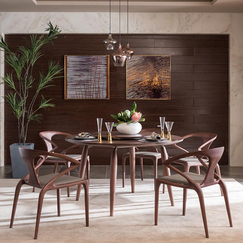 宝居乐意式实木轻奢餐椅SP309