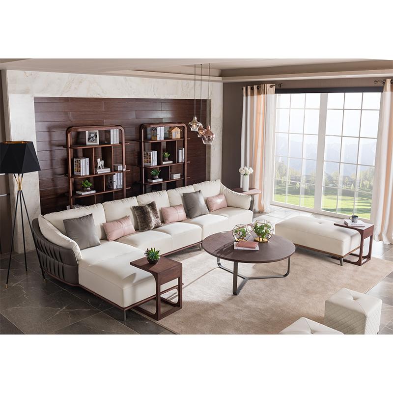 宝居乐意式实木轻奢转角沙发SP309