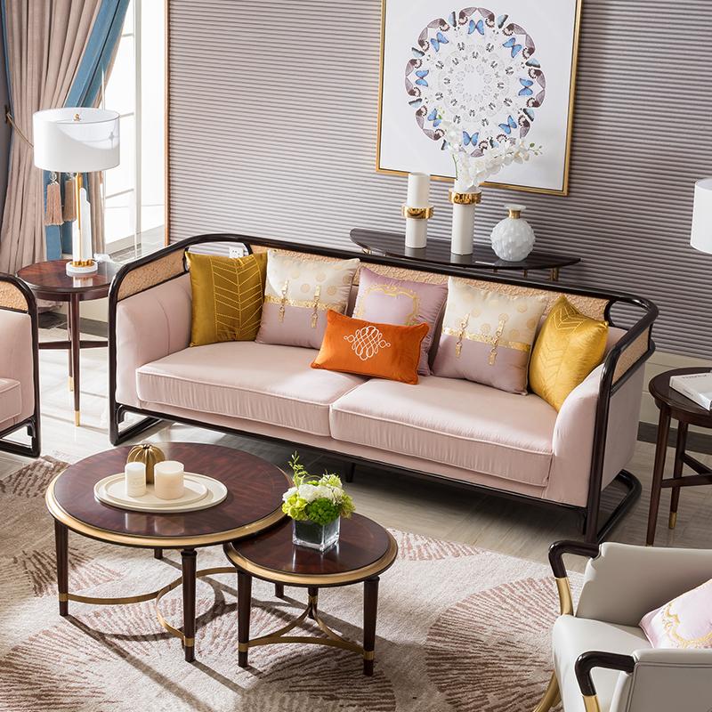 宝居乐美式实木轻奢三位沙发TP226