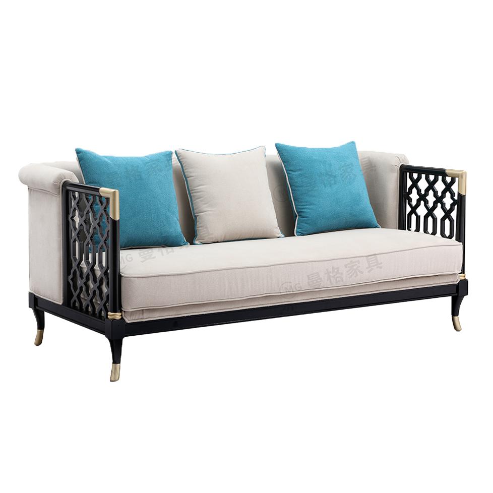 曼格新中式三人沙发R-A01