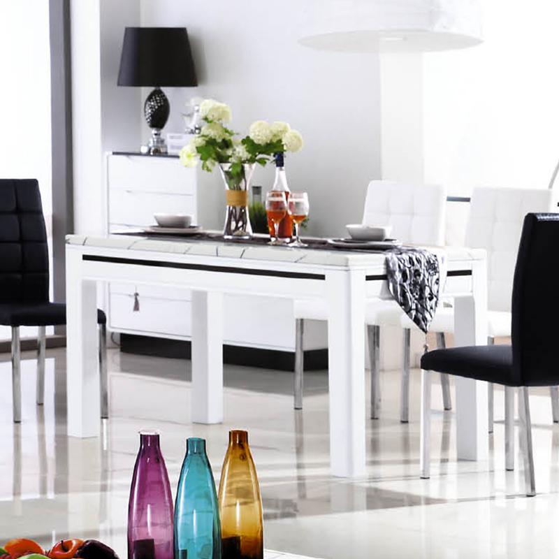 名艺轩现代北欧大理石面1.4米餐桌/餐台T130