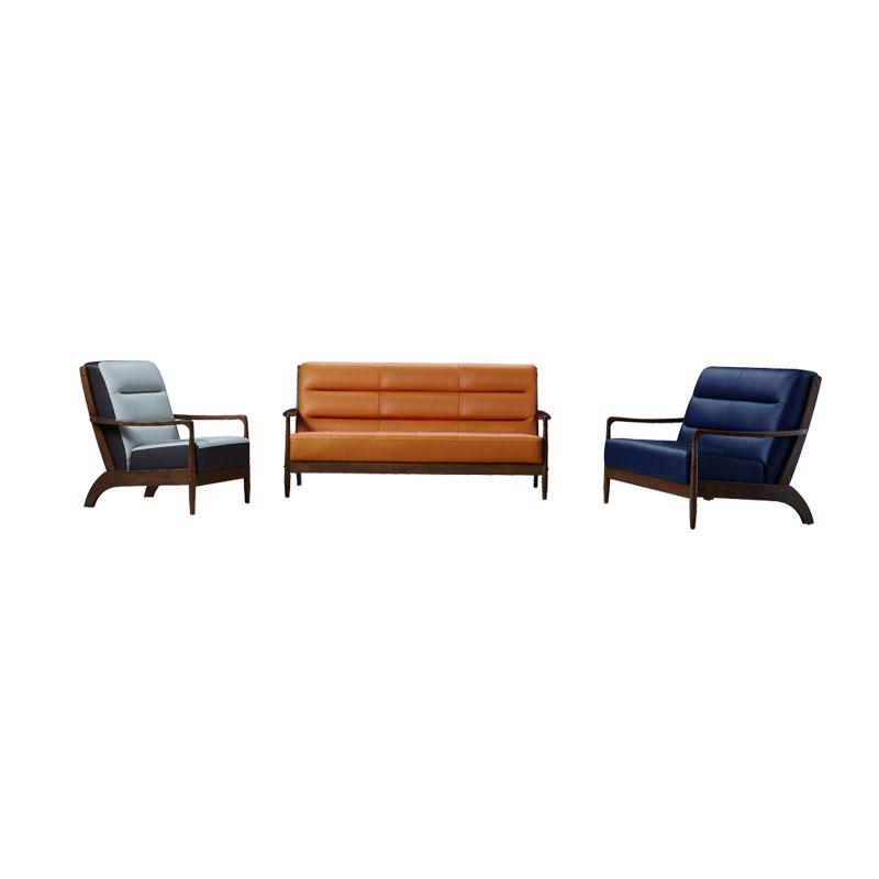 富牌家具现代休闲M1实木真皮沙发