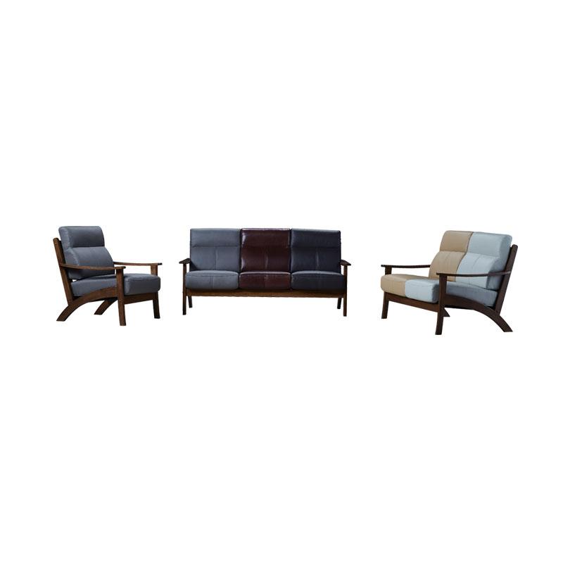 富牌家具现代休闲M2实木真皮沙发