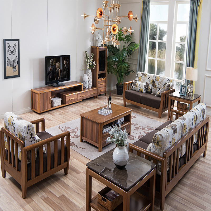 森盛美胡现代组合客厅套餐-9件套